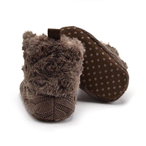 YYF Babyschuhe Dick Warm Baby Classic Schnee Stiefel PL¨¹SCH Wolle Garn Winter Schuhe Braun