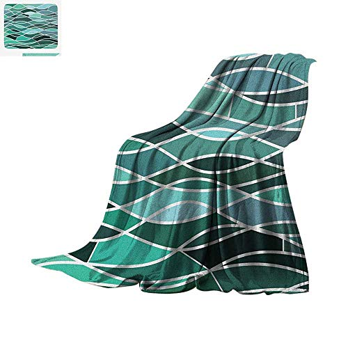 (Seafoam Throw Blanket Stained Glass Pattern with Wavy Lines and Mosaic Abstract Geometric Composition Print Artwork Image 50