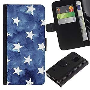 Paccase / Billetera de Cuero Caso del tirón Titular de la tarjeta Carcasa Funda para - Blue Watercolor American Flag - Samsung Galaxy S5 V SM-G900