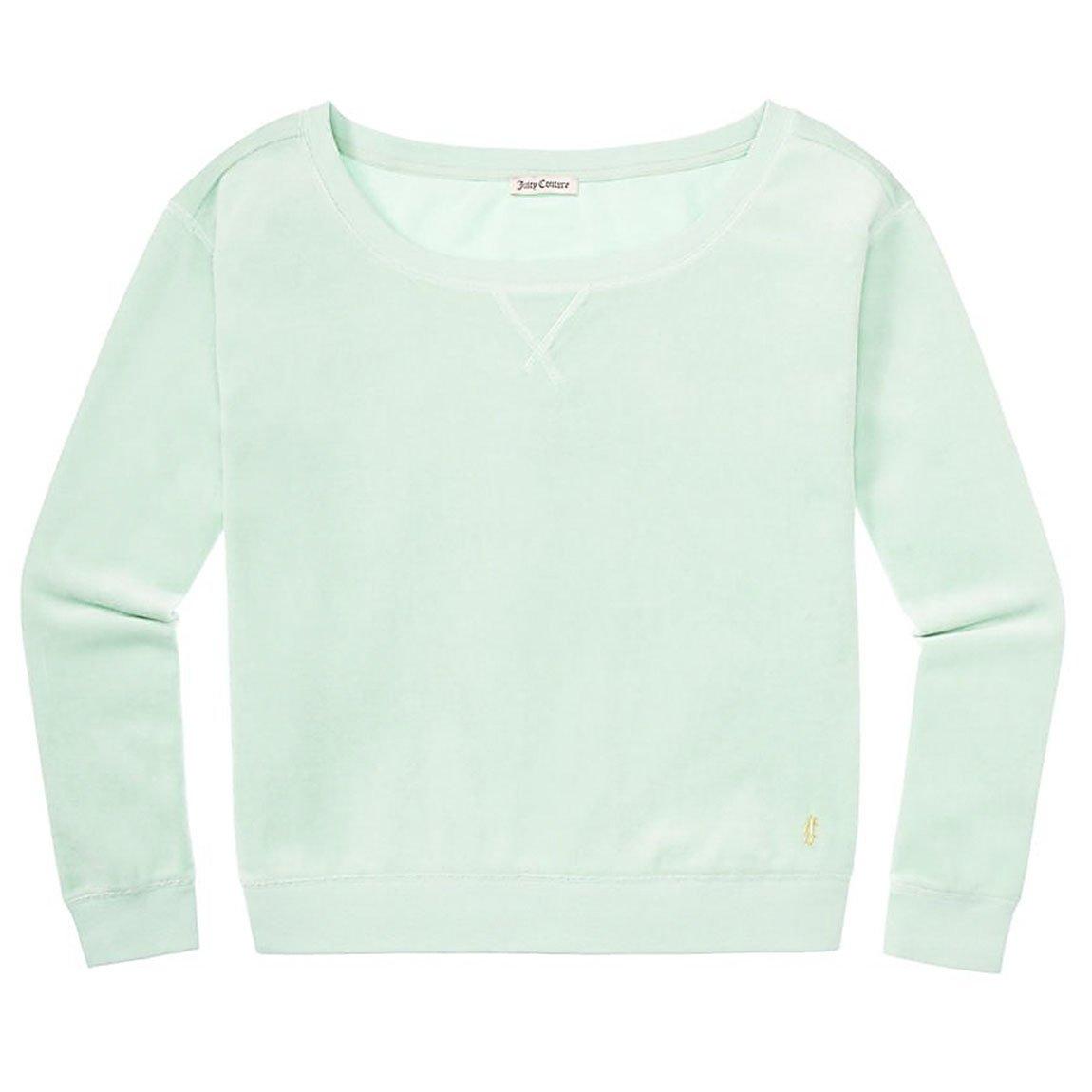 Juicy Couture Aqua Glass Velour Crew Neck Off The Shoulder Oversize Track Sweatshirt XL