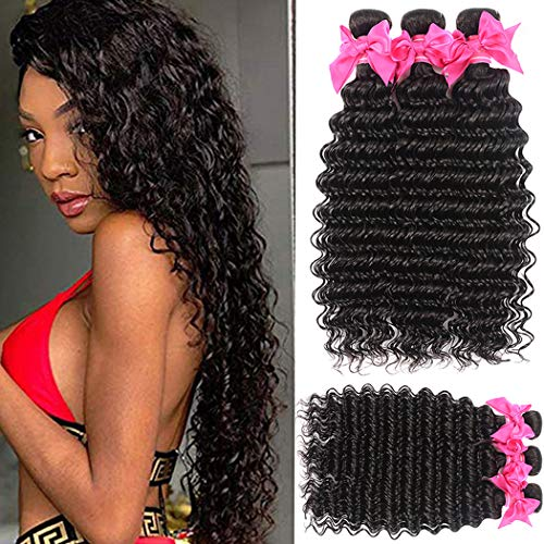 Lace Rosa 9A Brazilian Virgin Hair Deep Wave 3 Bundles (16 18 20) 100% Unprocessed Natural Color Can Be Dyed and Bleached