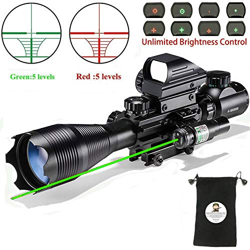 (Rifle Scope Combo C4-16x50EG with Laser and 4 Holographic Red&Green Dot Sight )