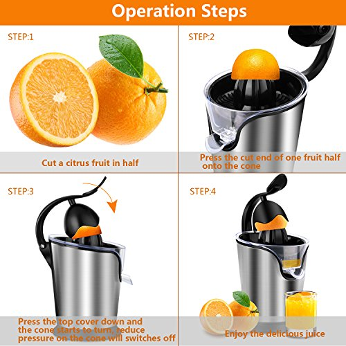 SOWTECH Citrus Juicer Stainless Steel Electric Orange Citrus Juicer Extractor Pulp Control Squeezer Machine [Ultra Quiet] [Precision of a Hand-Press] with The Direct Drive Motor by SOWTECH (Image #5)