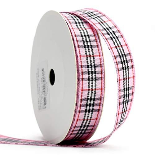 (Midi Ribbon Classic Pink Gingham Buffalo Check Lattice Woven Edge Ribbon, 5/8