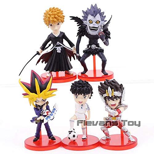 (Death Note Ryuk Saint Seiya Captain Tsubasa Yugi Muto Hot Anime Bleach Kurosaki Ichigo PVC Figures Toys 5pcs/Set)