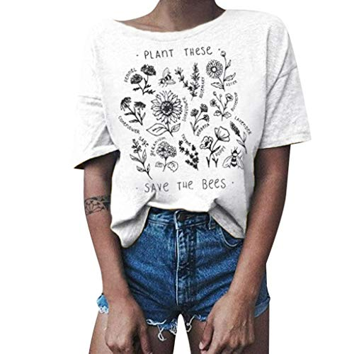 - Sunhusing Women's Retro Style Floral Printed Short Sleeve T-Shirt Summer Solid Color Round Neck Joker Blouse White