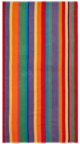 Cotton-Craft-Terry-Beach-Towel-30x60-Summer-of-Siam-Multi-Stripe-Choice-of-2-Pack-or-Single-Pack-400-grams-per-square-meter-100-Pure-Ringspun-Cotton-Brilliant-intense-vibrant-colors-Highly-absorbent-e