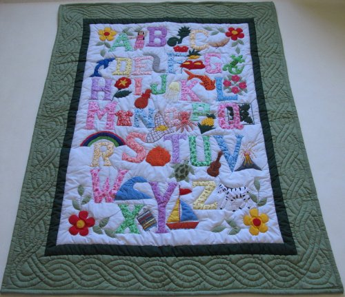 - Hawaiian Style Quilt ABC Baby Crib Blanket Wall Hanging, Hand Quilted/Hand appliqued and Machine Embroidered
