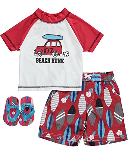 Wippette Baby Boys' Beach Hunkrash Set, Red, 18 Months