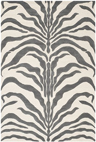 Safavieh Cambridge Collection CAM709A Handmade Moroccan Geometric Ivory and Dark Grey Premium Wool Area Rug (6′ x 9′)