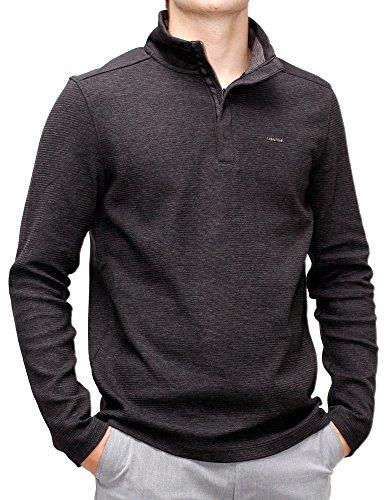 Sweater Gunmetal Mens (Calvin Klein Men's Long Sleeve Solid Mock Neck Pullover, Gunmetal Heather, Medium)