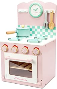 Le Toy Van Honeybake Collection Wooden Pink Oven and Hob Set Premium Wooden Toys for Kids Ages 3 Years & Up