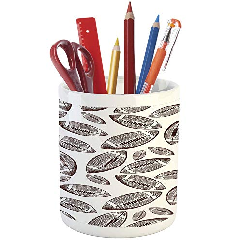 Pencil Pen Holder,Football,Printed Ceramic Pencil Pen Holder for Desk Office Accessory,Sports Inspired Pattern Rugby Balls in Hand Drawn Sketch Style Game Symbol Decorative