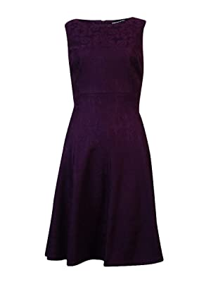 American Living Women's Lace Boat Neck Fit Flare Dress (10, Eggplant)