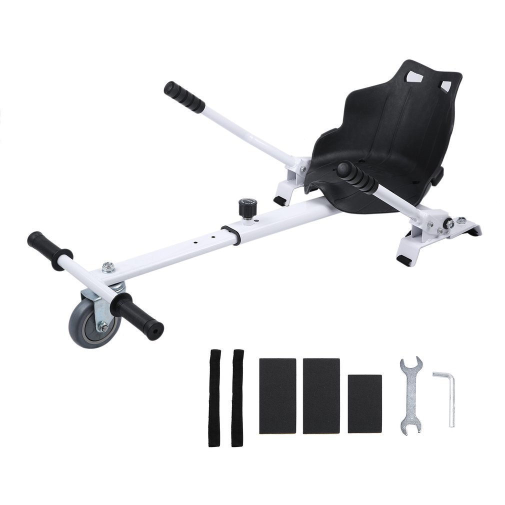 Genuinestore Go Kart Conversion Kit for Hoverboards - Cool Mini Kart Hoverboard Accessories - All Heights - All Ages - Compatible with All Hoverboards - HoverBoard not included (white)