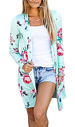 Tribear Women's Long Sleeve Floral Print Causal Cardigan Blouse (Floral Long Sleeve Cardigan)