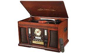 Victrola Aviator: 8-in-1 Bluetooth turntable, Mahogany
