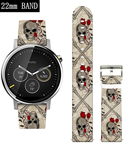 Gear S3 Frontier Bands,Ecute Leather Replacement Band Strap for Samsung Gear S3 Frontier/Gear S3 Classic/Pebble Time-22mm Band Watch and more 22mm Band Lug Watches - Vintage Skull Pattern