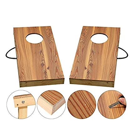 Oofit Solid Wood Premium Cornhole Game Junior Size 1 X 2 Bean Bag Toss Game Convenient Carry Handle Great For Travel With 8 Bean Bags Indoor