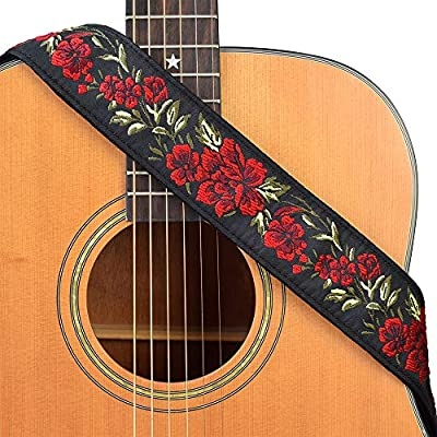 CLOUDMUSIC Guitar Strap Floral Patterns Jacquard Woven With Leather Ends For Acoustic Electric Bass Ukulele Guitarlele Guitar Picks Free