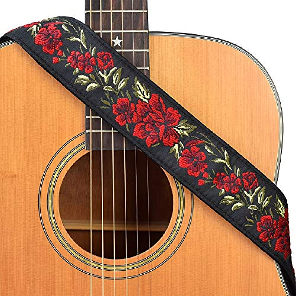 bass Leather ends Extra Long woven guitar Red ukulele mandolin strap