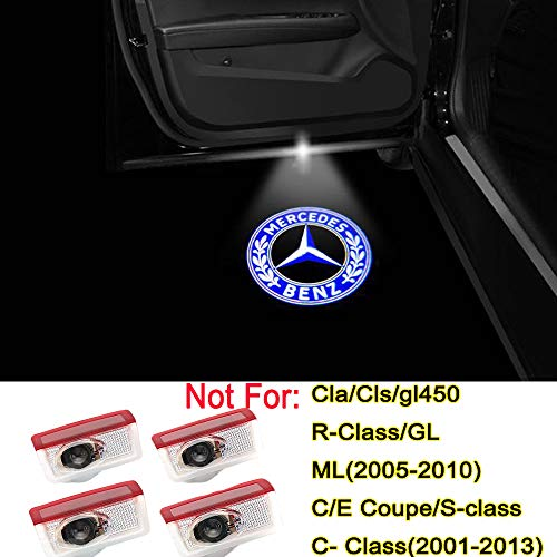 Bailunte Mercedes Benz E-class Accessory LED Car Door Logo Light Projector Ghost Shadow Lights Welcome Lamp for Mercedes Benz c300 W212 W213 W246 W205 X253 Series(4 Pack) (Logo Door Light Mercedes)