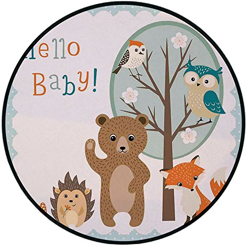 Printing Round Rug,Kids,Hello Baby Arrival Funny Hedgehog Bee Owls Birds on Tree Bear Fox Animals Themed Party Home Decor Mat Non-Slip Soft Entrance Mat Door Floor Rug Area Rug For -
