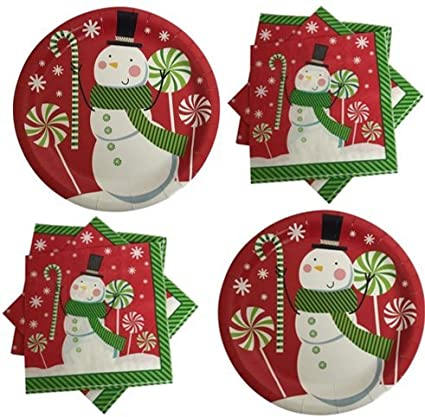Christmas Paper Plates And Napkins.Jolly Snowman Christmas Paper Plates And Napkins Bundle Service For 36