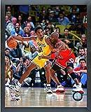 Kobe Bryant & Michael Jordan NBA Action Photo (Size: 12'' x 15'') Framed