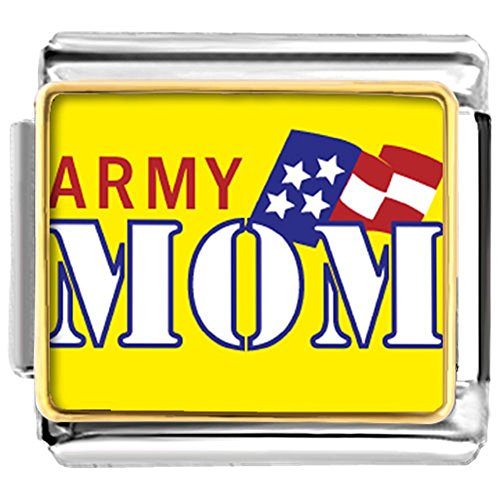 DemiJewelry Army Mom US Flag Nomination Etched Italian Charms For Link Bracelet