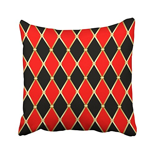 Emvency Decorative Throw Pillow Covers Cases Abstract Harlequin Patterns Golden Grid with Red and Black Rhomboids Argyle Carnival Circus Clown 20X20 Inches Pillowcases Case Cover Cushion Two Sided ()