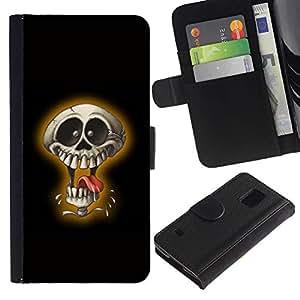 All Phone Most Case / Oferta Especial Cáscara Funda de cuero Monedero Cubierta de proteccion Caso / Wallet Case for Samsung Galaxy S5 V SM-G900 // Laughing Skull