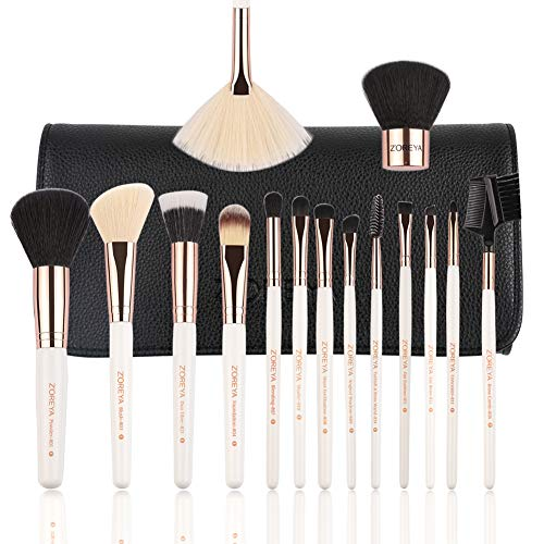 ZOREYA Makeup Brushes Premium Luxury 15pc Rose Gold Make Up Brushes Set With Professional Easy Travel Vegan Leather Makeup Brush Set Case Bag Organizer Kit with Eyebrow Eyeshadow -