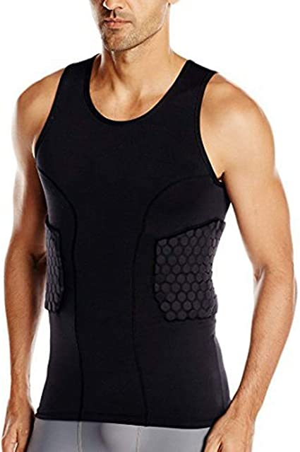 TUOY Men's Sleevless Padded Compression Shirt for Football Basketball (Black)