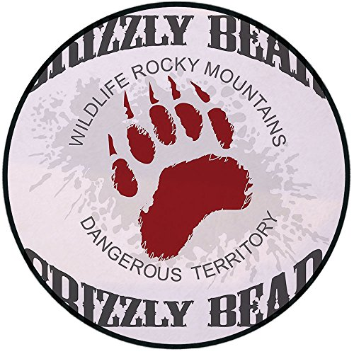 Printing Round Rug,Cabin Decor,Grunge Grizzly Bear Footprint Emblem Dangerous Wildlife Rocky Mountains Decorative Mat Non-Slip Soft Entrance Mat Door Floor Rug Area Rug for Chair Living Room,Grey Red