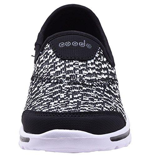 COODO - Zapatillas de running para mujer CD8002 BLACK/WHITE