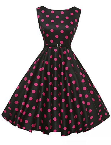 GRACE KARIN 1950's Style Retro Dresses Boat Neck Sleeveless Size L F-9]()