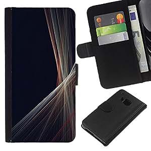 [Neutron-Star] Modelo colorido cuero de la carpeta del tirón del caso cubierta piel Holster Funda protecció Para HTC One M9 [Líneas Minimalista Gris Negro Costura]