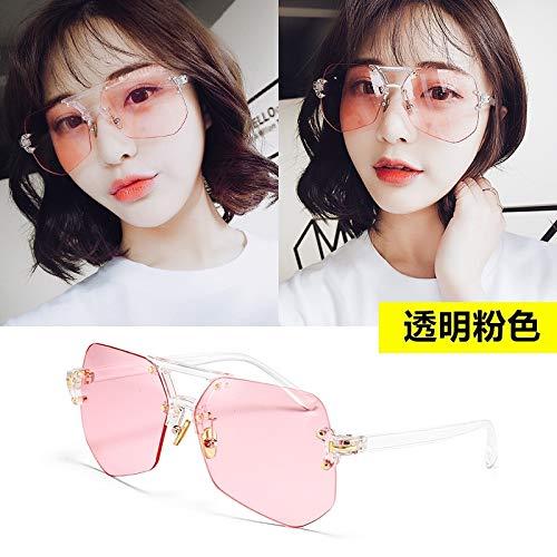 JEGOAU Korea Sunglasses Women Girls Personality Tide Transparent Eye Sunglasses yurt Driving Influx People Men Glasses (Transparent Flakes