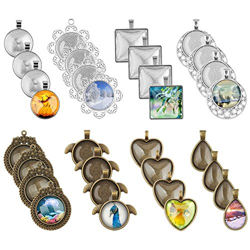 Accmor 32 Pcs 8 Styles Pendant Trays Include Round, Square, Heart, Teardrop, Wings, Flower, Chaplet, Star Circle Pendant Bezel with 32 Pcs Glass Cabochon Dome Tiles for Crafting DIY Jewelry ()