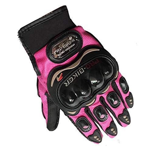 Jeasfulty Knight Full Finger Pink Orange Black Women Touchscreen Motorcycle Gloves Moto Race Female Gloves Pink L