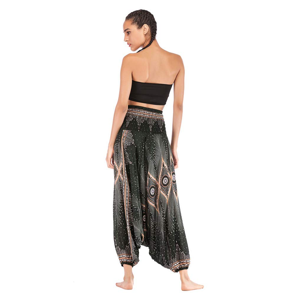 Womens Peacock Print Aladdin Harem Hippie Pants Jumpsuit Smocked Waist 2 in 1 Harem Pants Bohemian Yoga Pants