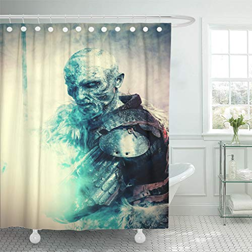 Semtomn Shower Curtain White Demon Halloween Frozen Snow Covered Zombie Warrior Shower Curtains Sets with 12 Hooks 72 x 72 Inches Waterproof Polyester Fabric -