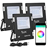 LE iLUX Smart LED Flood Light, Outdoor Plug in, 30W RGB, IP65 Waterproof, Bluetooth Remote Control for iOS and Android, Color Changing with Music, Floodlights for Home, Garden, Balcony, Pack of 3