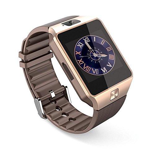 PELTEC@ Bluetooth Smart Watch Armband Handy Uhr für Android, Iphone iOS , Smartwatch Smartphone SIM Armbanduhr Kamera goldfarben