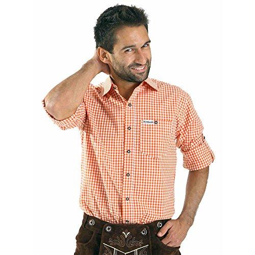 Almbock Trachten-Hemd Hannes in orange - für Männer, große Größen S M L XL XXL 3XL, halbarm, für Oktoberfest, modern, Ärmel zum umschlagen