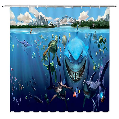 Feierman Underwater World Shower Curtain Cartoon Ocean Decor Finding Nemo Bathroom Curtain Accessories Polyester Fabric Bathroom Shower Curtain Set with Hooks 70x70Inches