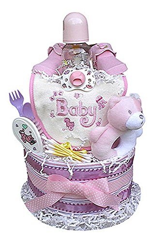 2 Tiered Diaper Cake for Girls by Baby Gift Idea