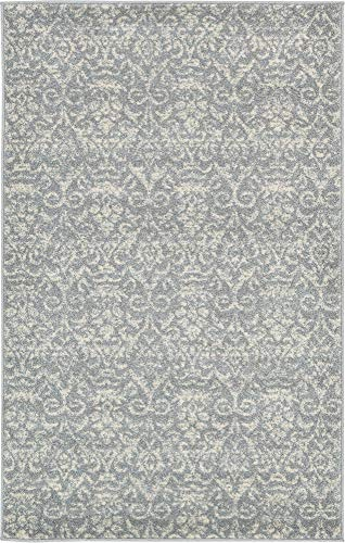 Unique Loom Damask Collection Traditional Floral Gray Area Rug 3 3 x 5 3