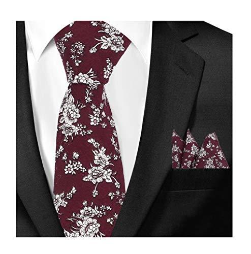Men's Burgundy RED Pattern Ties Set White Floral Business Wedding Party Neckties